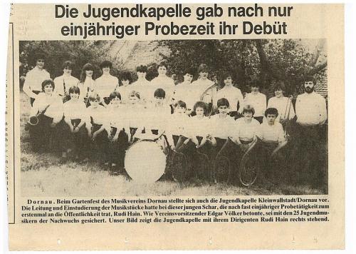 1984 - Jugendkapelle - erster Auftritt