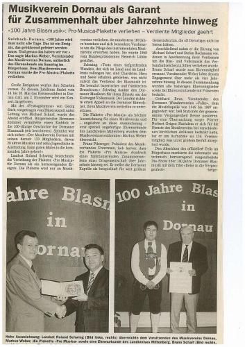 2002 - 100 Jahre Blasmusik Jubiläumsabend